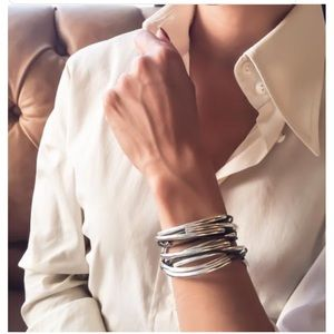 Silver plated Leather convertible wrap bracelet